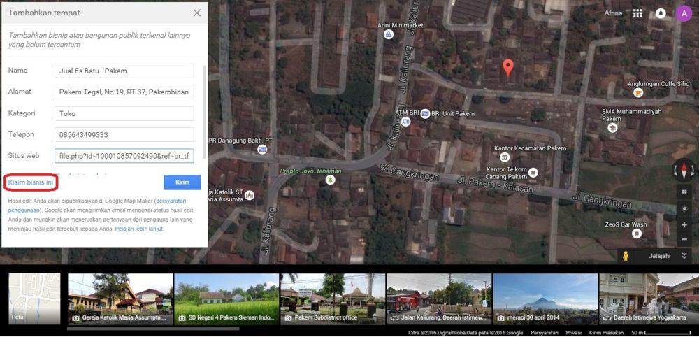 Isi kolom sesuai informasi yang di minta - Google Maps