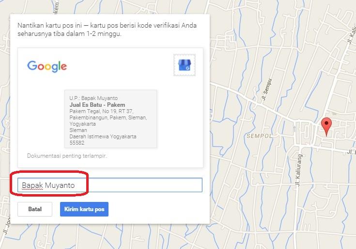 Isi nama opsional dengan nama penerima kartu pos - Google Maps