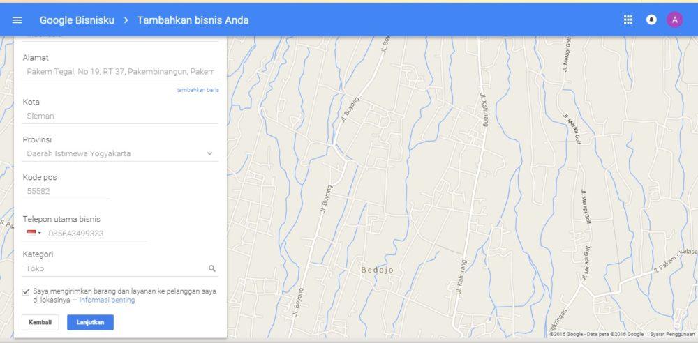 Lengkapi kembali semua kolom informasi yang di minta - Google Maps