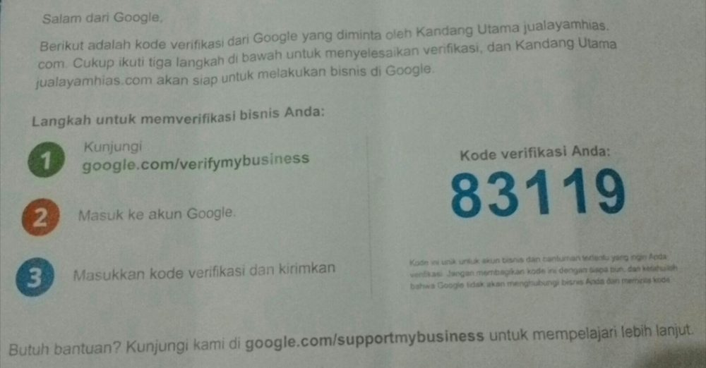 Pin Verifikasi Google Maps