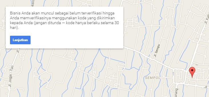 Sukses mendaftar di Google Maps