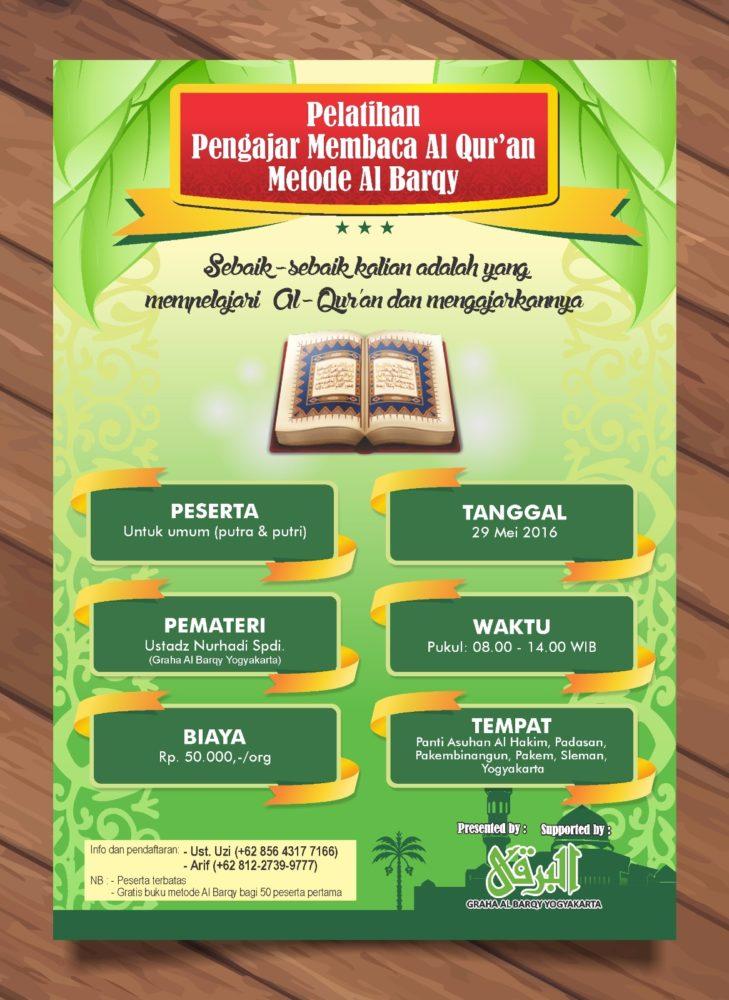 Poster Pendaftaran Pelatihan Peserta Pengajar Membaca Al Qur'an Metode Al Barqy